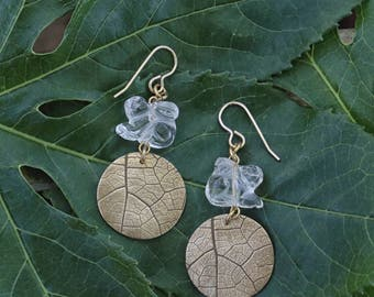 Quartz Crystal Rabbit Leaf Imprint Earrings ~ Spring Jewelry ~ Bronze Bunny Earrings ~ Metaphysical ~ Crystal Jewelry ~ Nature Inspired