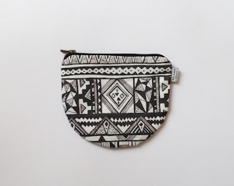 Mapuche Mini Pouch -  Black and White Coin Purse - Mapuche Print