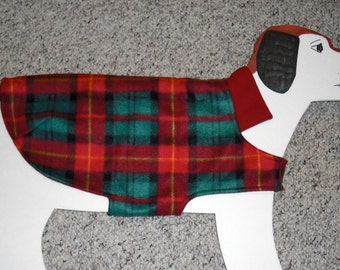 "Red & Green Festive Plaid Fleece Dog Coat size Medium (25-30 lbs., 25"" girth), fully lined"