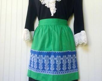 vintage apron, green apron, blue, floral, retro apron, half apron, cotton apron