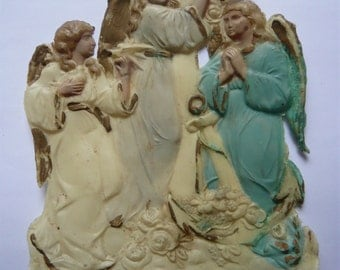 Old french religious molded celluloÏd holy image,pious image hand painted three angels one holding the cross one anchor flowers end 19th
