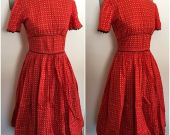 1950s Folkloric Printed Cotton Dress