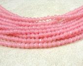 Czech Beads, 3mm English Cut, Czech Glass Beads - Milky Pink (EC3/SM-M71010) - Qty. 50