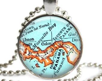 Panama Jewelry, Map pendant charm, Colon, Panama map necklace, map jewelry, photo pendant, Panama key chain, customized, A162