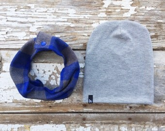 Blue Snap Scarf and Beanie Set Gray Drool Bib Scarf and Hat Set Baby Scarf Bib Toddler Scarf Bib Childrens Scarf and Hat Set Baby Beanie