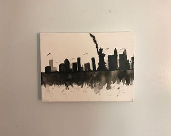 Hand-Painted 'We Are New York' Acrylic Painting