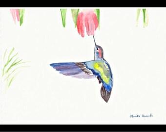 Blue hummingbird Blue bird Tropical bird ORIGINAL watercolour painting Hummingbird watercolour, 10 x 7 inch, small tropical bird