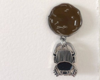 Scarab Beetle Enamel Pin Pendant - Dung Beetle Jewelry Brooch Oddity Curio Bug Pin - Entomology