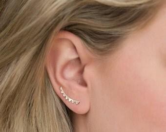 Triangle Silver Leaf Climber Earrings, Silver Climber Earrings, Silver Triangle Earrings, Minimalist Jewelry, Silver Earrings E243-S