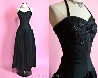 "Old Hollywood Glamour 1930's Vintage Inky Black Sequined Drop-Waist Halter Floor Length Gown Medium 28"" Waist"