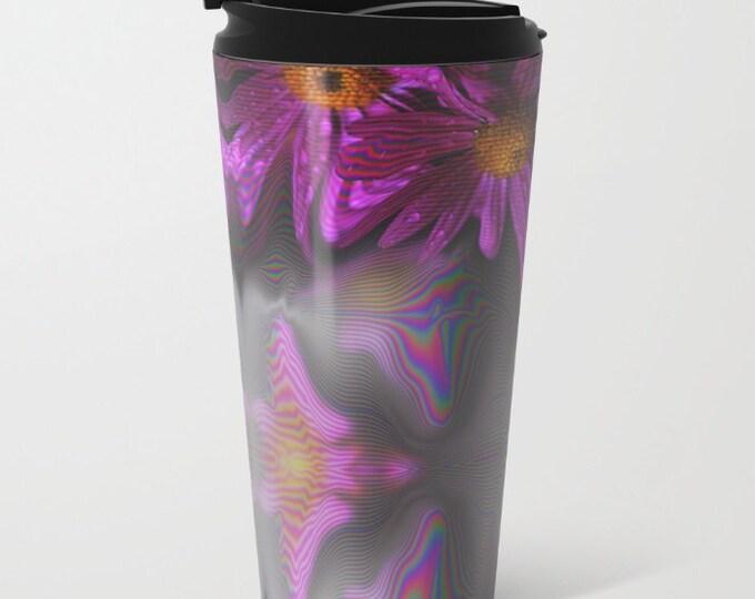 Purple Flower Travel Mug Metal - Coffee Travel Mug - Hot or Cold Travel Mug - 15oz Travel Mug -Made to Order