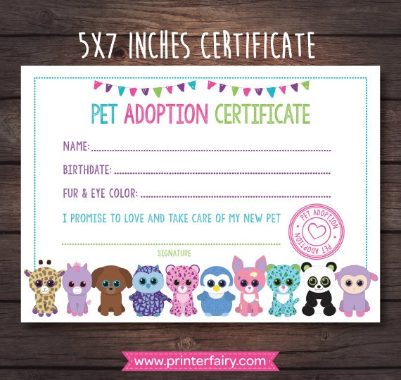 Beanie Boo Adoption Certificate Pet adoption party Puppy