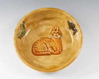 Cat food bowl - cat feeding dish - pottery cat dish -  ceramic cat bowl - golden tan cat bowl  O143