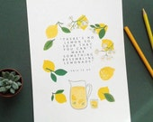 "There's no lemon so sour you can't make something resembling lemonade - A4 print, inspirational quote from ""This is Us"""