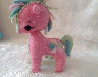 Hand-sewn Felt Little Pony Stuffed Toy - Custom Made to Order
