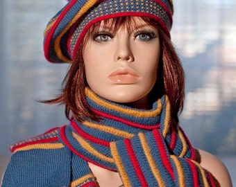 Knitted set: beret with pompom, fingerless mittens, tube scarf, indigo, colored pleats red, yellow/gold, woolen, for women,for girls, winter