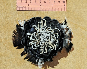 FLR002 Pin with Alligator Clip...Handcrafted Leather Flower & Feathers, FREE US SHIPPING