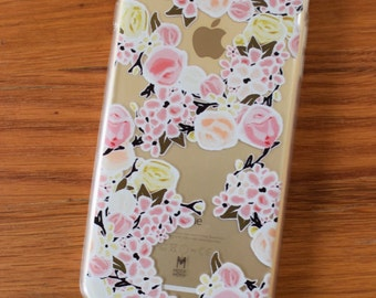 Clear iPhone Case with Roses, Transparent iPhone case Pink and Yellow Flowers - iPhone 5/5s/SE, iPhone 6/6s/6 Plus, iPhone 7/7 Plus