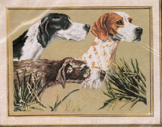 Counted Cross Stitch Kit, Pointers On Point, Dogs, Sporting Dogs, Vintage Janlynn Kit, Made in USA