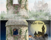 RAPUNZEL CASTLE TOWER Digital Background Princess Background Day or Night jpeg file with separate Hair and Butterfly png files