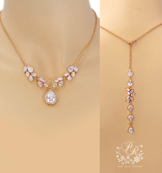 Wedding Necklace Rose gold plated Teardrop Cubic Zirconia pendant Necklace Wedding backdrop necklace Bridal Jewelry Wedding Jewelry Sasa