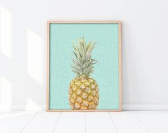 Pineapple Art - Kitchen Printable - Tropical Summer Print - Housewarming gift - Trendy Wall Decor - Instant download - Teal green - SKU:2667
