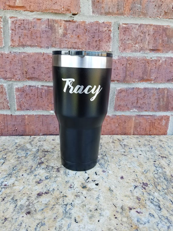 Graduation Gift, Black Powder Coated Tumbler, Laser Engraved, 30 oz.