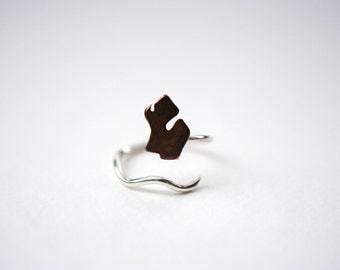 Michigan Mitten Lower Peninsula Roots Twist State Ring (Sterling Silver & Copper Ring)