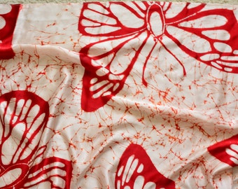 Hand made Butterfly print Silk scarf.Batik scarf.Red butterfly Print long neck scarf.