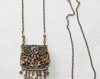 Vintage Signed Sweet Romance USA Purse Floral and Vine Filigree Necklace with Pink Glass and Crystals