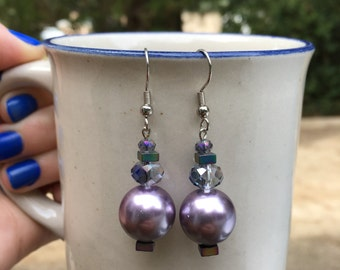Handmade Iridescent and Pearl Glass and Metal Beaded Earrings