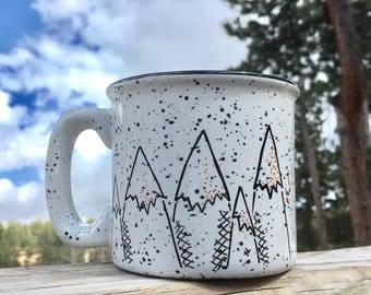 FREE SHIPPING - Mountain Mornings Mug - camping campfire sunrise hiking wilderness
