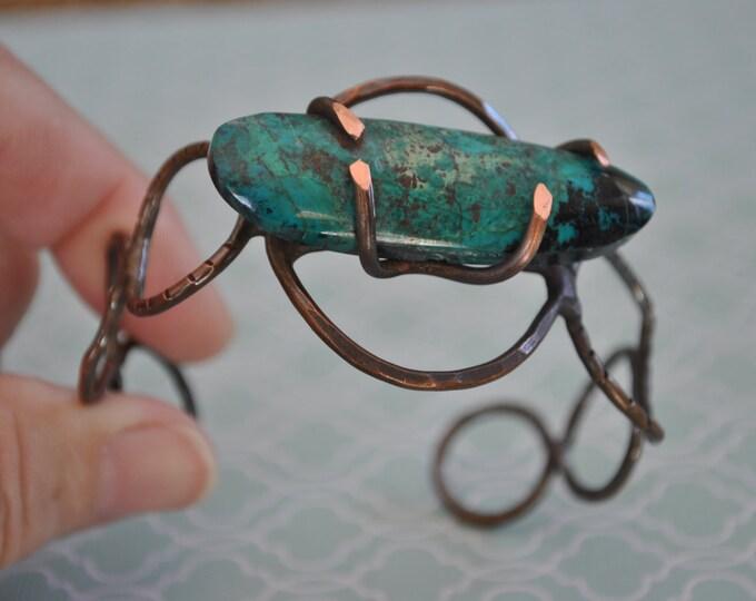 Chrysocolla stone copper cuff,  rustic copper bracelet, metal work, boho, unisex