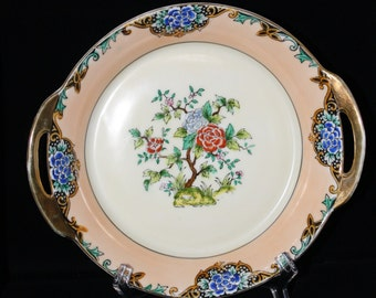 Mid Century Noritake Bowl Handpainted with Gold Handles made in Japan