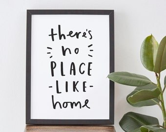 "8x10"" There's No Place Like Home Print - typographic print - housewarming gift"