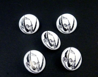 """5 Mustache Man SHANK Sewing Buttons.  Handmade by Me.  Washer and Dryer Safe.  3/4"""" or 20 mm round."""