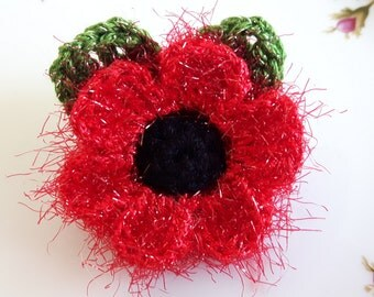 Crochet red sparkle and fluffy poppy flower with leaves brooch pin corsage applique gift remembrance day