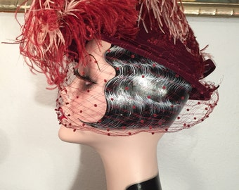 Striking 1940s Vintage Hat by G. Howard Hodge -- Dramatic Veiled Design with Large Ostrich Feather