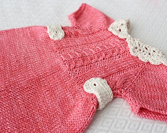 Take home dress, Baby girl outfit, knitted baby dress, unique dress, hand knitted dress, newborn outfit, brides knitted dress, baby shower