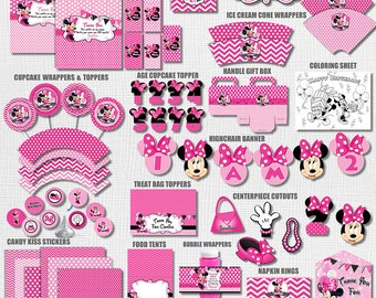 Pink Minnie Mouse Party Pack, Pink Chevron and Polka Dot Minnie Mouse, Printable Minnie Mouse Decorations, Pink Minnie Mouse DIY Decor
