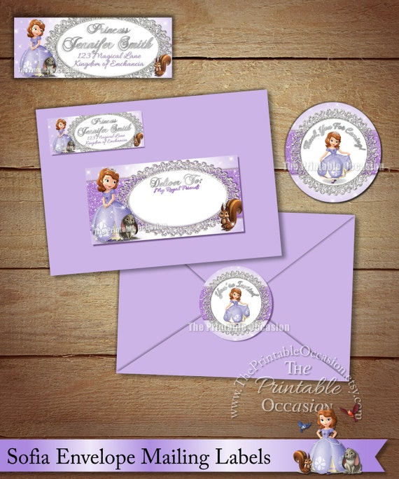 sofia the first address labels and envelope seal princess sofia