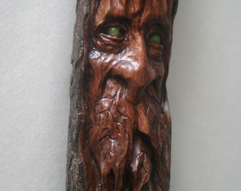 Wood Spirit Driftwood Carving Wizard Green Man Gnome Sculpture Cabin Decor Fantasy Pagan Tree Face Watcher Guardian Wiccan
