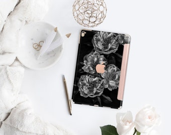 Platinum Edition Black Rose with Rose Gold Smart Cover Hard Case for iPad Air 2, iPad mini 4 , iPad Pro , New iPad 9.7 2017