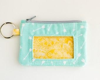 Key Wallet with ID Window, Coin Purse, Zipper Pouch, Earbud Case, Turquoise Blue Arrows and Yellow Paisley Cotton Fabrics, Handmade