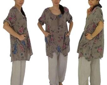 HJ900TP44 ladies tunic blouse linen vintage Gr. 44 / 46-taupe