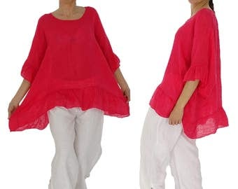 HZ300R ladies blouse linen gauze tunic frill Gr. 40 42 44 46 48 red