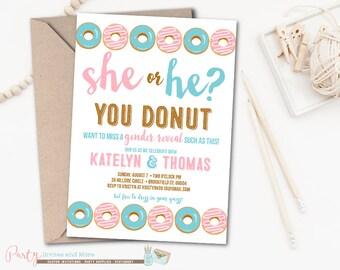 Gender Reveal Invitation, Donut Gender Reveal Invitation, Donut Baby Shower, Pink and Blue Donut Invitation, Doughnut Invitation