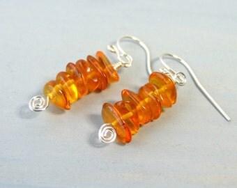 Genuine Amber Earrings Sterling Silver Earrings Dangle Orange Earrings Boho Jewelry, Artisan Earrings Handmade Gifts For Her