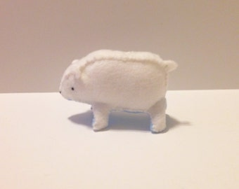 Standing polar bear in felt