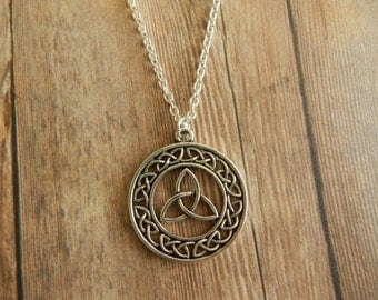 Celtic Knot Necklace, Celtic Knot Pendant, Silver Celtic Necklace, Celtic Pendant, Celtic Knot Charm Necklace